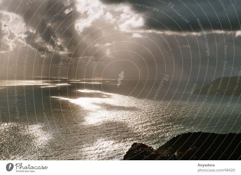 Water Sky Sun Ocean Clouds Far-off places Dark Sadness Lake Rain Moody Grief Italy Mediterranean sea Promontory Liguria
