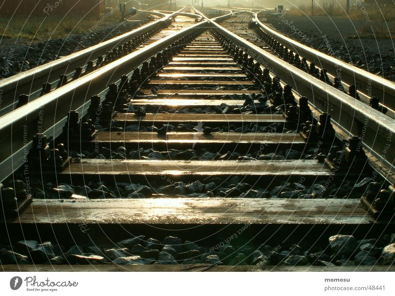 ...endlessly Railroad tracks Light Infinity Shadow Detail Train station Lanes & trails