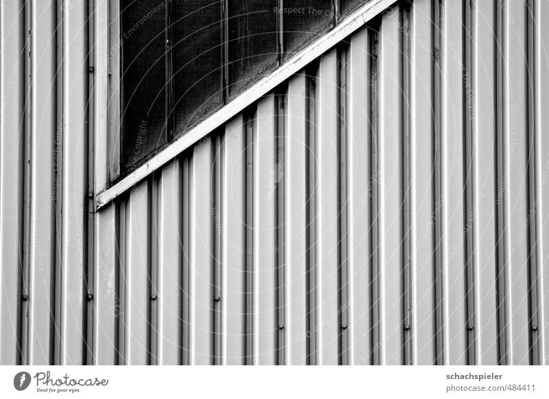 |||/ In tin. Industrial plant Building Architecture Wall (barrier) Wall (building) Window Glass Metal Old Hideous Gray Decline Past Transience