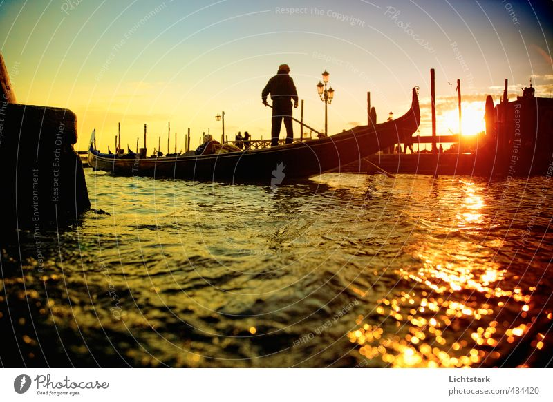 Venice Human being Man Adults Environment Nature Water Beautiful weather Town Port City Old town Movement To enjoy Blue Yellow Gold Emotions Moody Power Romance