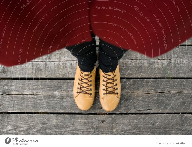 Human being Red Yellow Autumn Legs Feet Fashion Footwear Stand Growth Perspective Cute Uniqueness Deep Fear of heights Wooden board