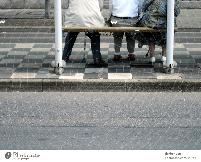 Human being Loneliness Street Senior citizen Wait Gloomy Bench Asphalt Station Paving stone Family & Relations Grandparents