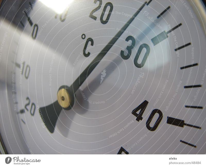 temperature gauge Degrees Celsius Reflection 20 30 40 Plus White Black Temperature Analog Physics Cold Glass miuns °C Axle 28 degrees Testing & Control