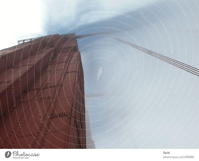 Sky Red Clouds Fog Wind Bridge USA Column Iron California San Francisco Golden Gate Bridge Anticorrosion paint