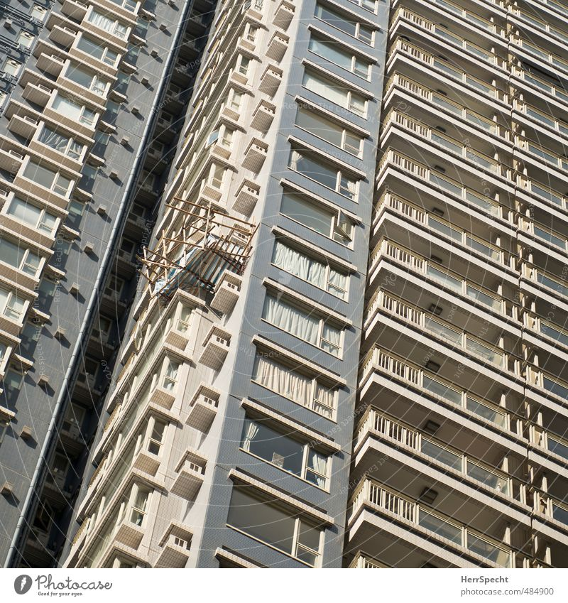 makeshift Hongkong High-rise Building Architecture Facade Balcony Threat Funny Above Town Crazy Gray Flat (apartment) Scaffold bamboo pole Risk of collapse