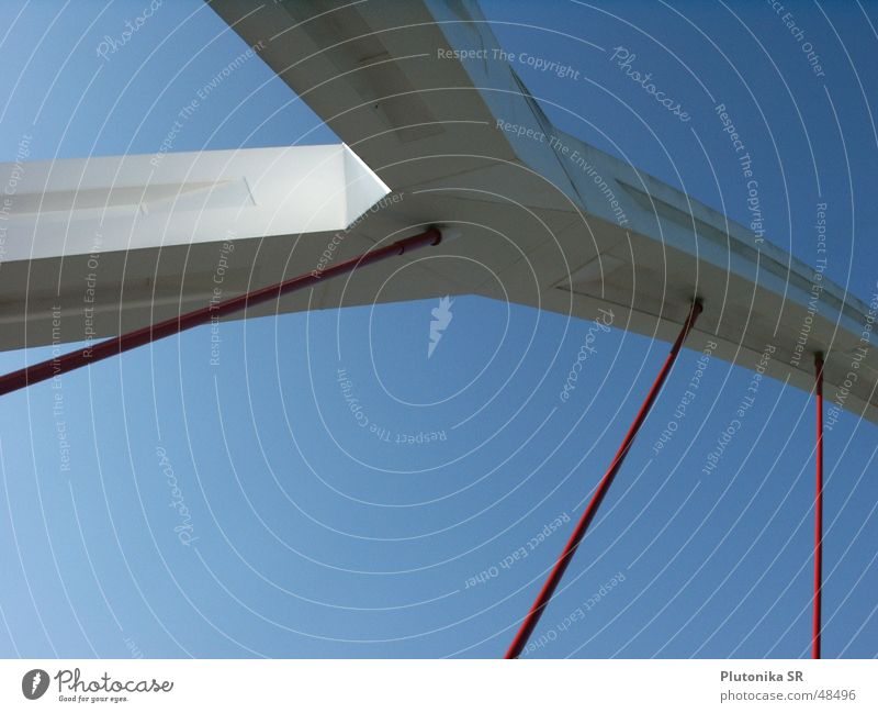 Sky Blue Red Perspective Bridge Wire cable