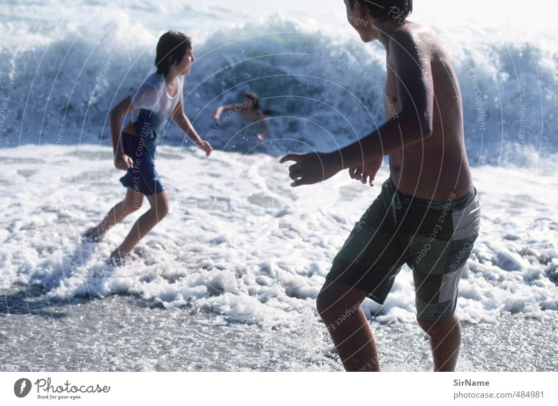 Human being Child Youth (Young adults) Vacation & Travel Water Summer Ocean Joy Beach Life Movement Boy (child) Playing Swimming & Bathing Natural