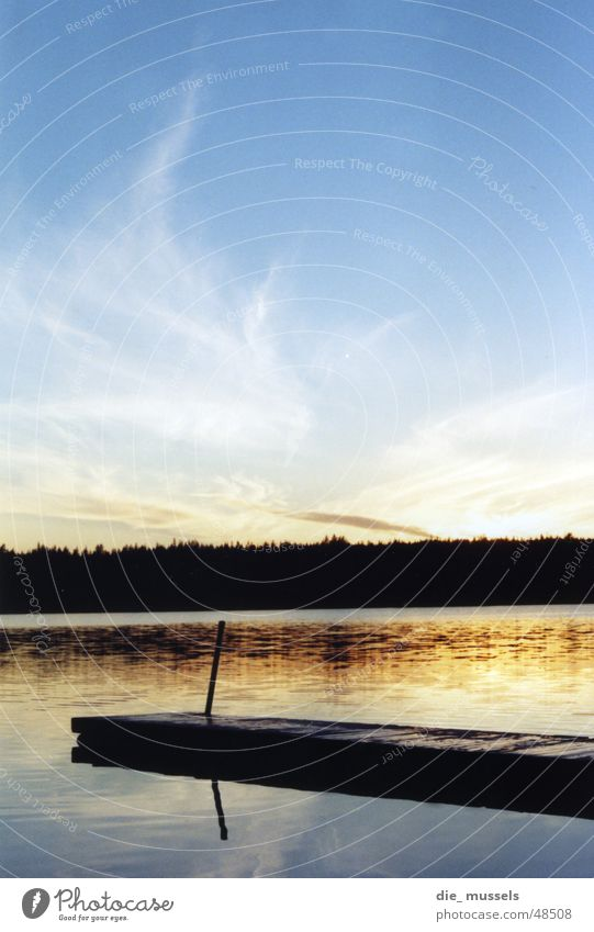 Sunset I Footbridge Lake Ocean Forest Moody Water Orange Sky