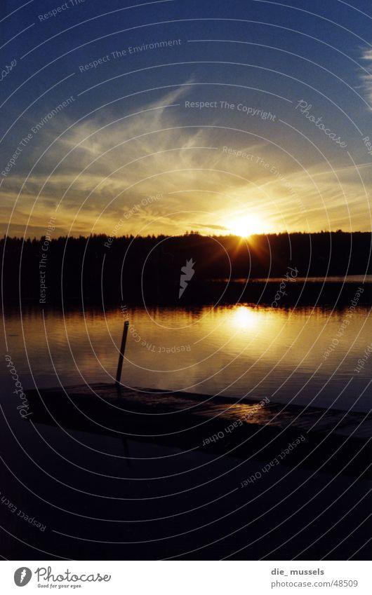 Sunset II Footbridge Lake Ocean Forest Moody Water Orange Sky