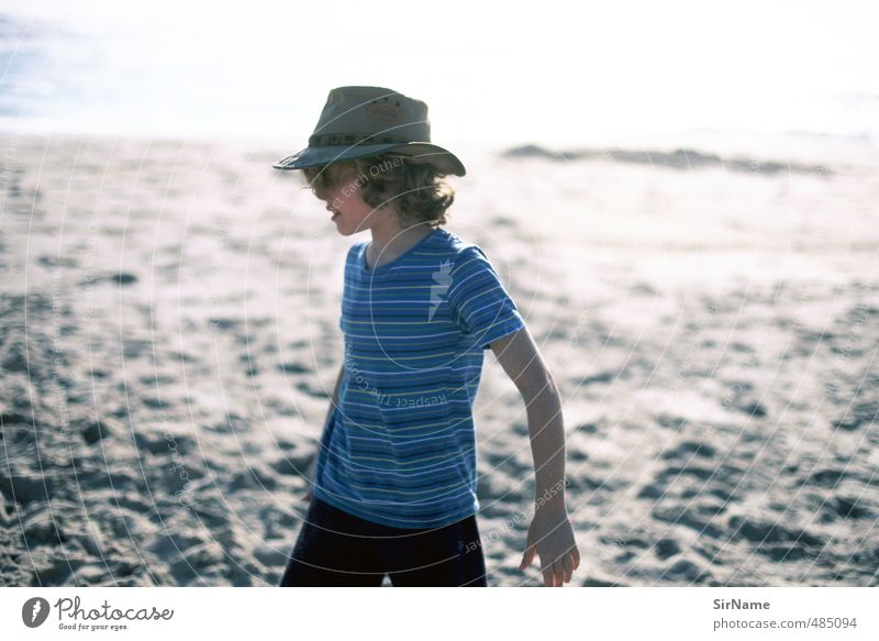 241 [at the beach] Vacation & Travel Summer vacation Boy (child) Infancy Human being 8 - 13 years Child Sunrise Sunset Beautiful weather Beach T-shirt Hat Curl
