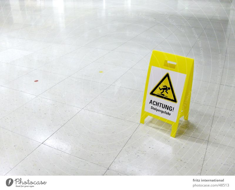 risk of tripping Advancement Future High-tech Sign Signs and labeling Signage Warning sign To fall Walking Threat Cold Clean Yellow Dangerous Respect