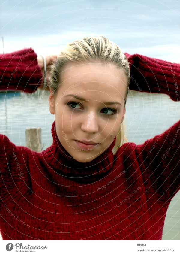 By the lake ... Lake Woman Blonde Sweet Mysterious Sweater Roll-necked sweater Red Autumn Cold Austria Beautiful Water Sky Blue Lake Neusiedl