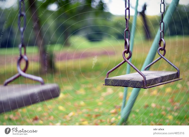 end of season Kindergarten Swing Playground Boredom Grief Loneliness Divide Transience Playing Autumnal Childhood memory Colour photo Exterior shot Close-up