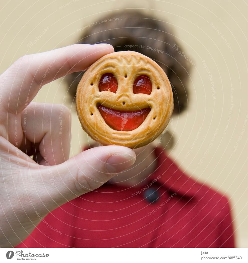 Smile, please! Cookie 1 Human being Smiling Laughter Friendliness Happiness Happy Delicious Funny Cute Positive Crazy Red Joy Joie de vivre (Vitality) Euphoria