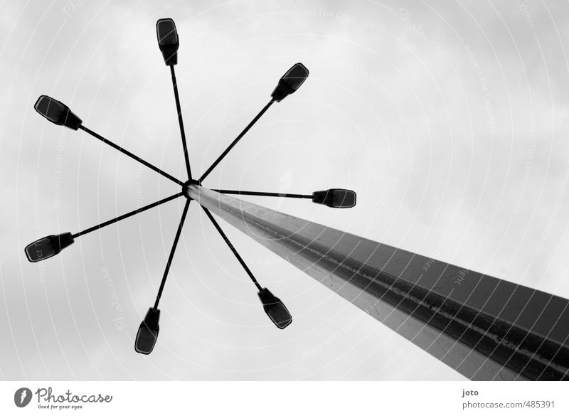 above our heads Lamp Illuminate Old Sharp-edged Tall Retro Nostalgia Light Street lighting Lamp post Design Lithuania Pole Skyward Architecture Line Diagonal