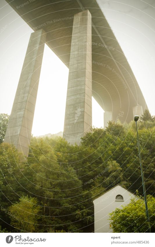 Highway to Sauerland Street lighting Tree Forest Hill House (Residential Structure) Bridge Overpass Gigantic Large Town Modern Perspective Colour photo