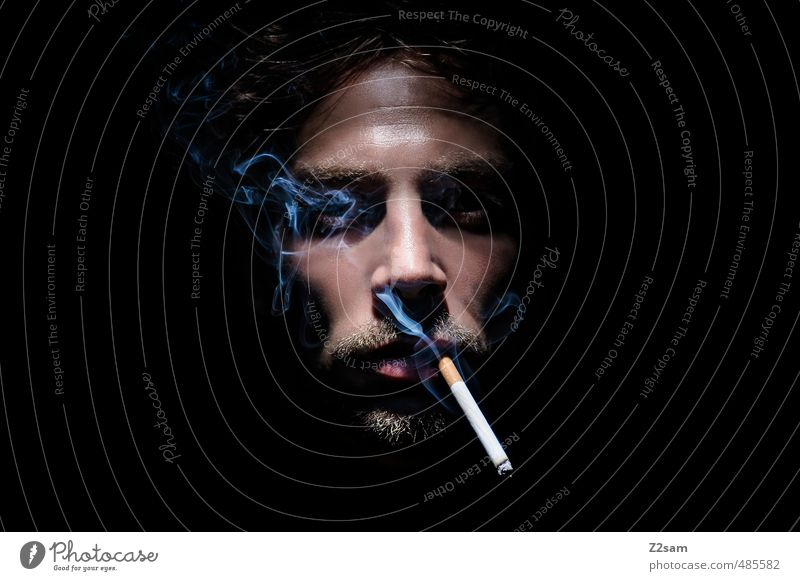 Youth (Young adults) Calm Young man Adults Dark Cold Death Healthy Dream Masculine Elegant To enjoy Cool (slang) Grief Smoking Facial hair