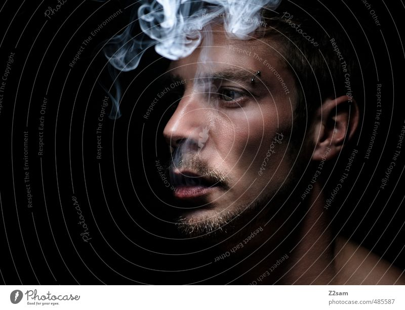 Youth (Young adults) Calm Young man Adults Dark Cold Healthy Dream Masculine Elegant To enjoy Cool (slang) Grief Smoking Facial hair Serene