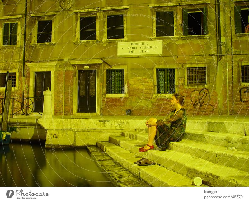 Woman Water Calm Relaxation Wait Sit Break Romance Observe Historic Jetty Tourist Young woman Motionless Venice Italy