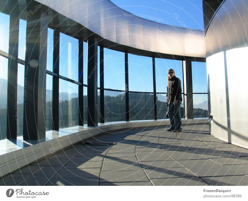 Sky Sun Mountain Metal Glittering Glass Modern Open Federal State of Tyrol Innsbruck Flow through