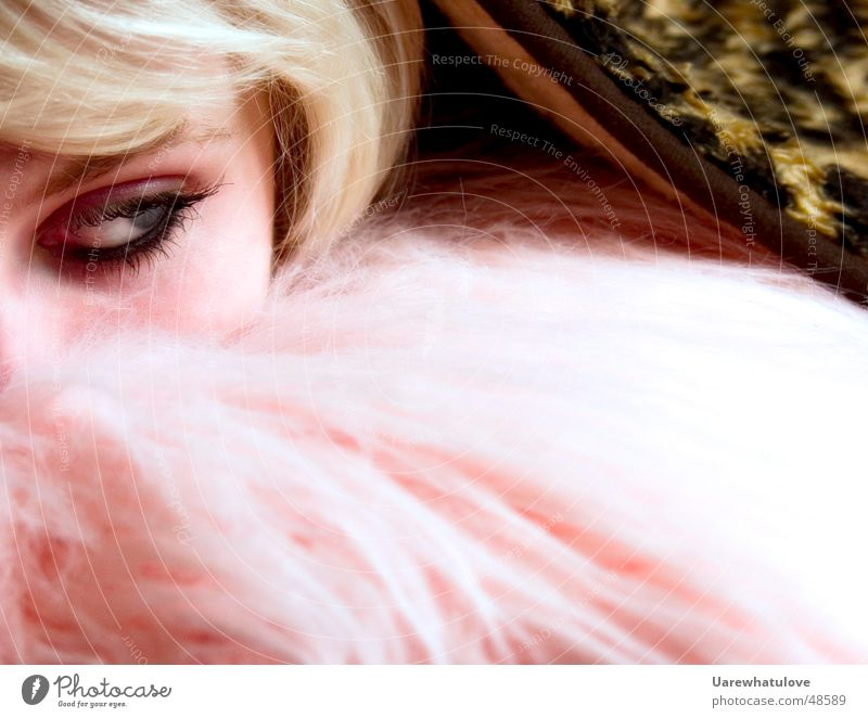 Woman Face Eyes Head Hair and hairstyles Blonde Pink Hide Blanket Eyelash Cushion Right Panther