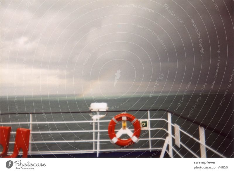 Water Sun Ocean Red Watercraft Rainbow Life belt Railing