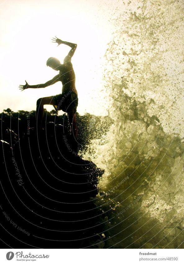 Water Sun Ocean Waves Coast Rock Action Dynamics Inject Brazil Massive
