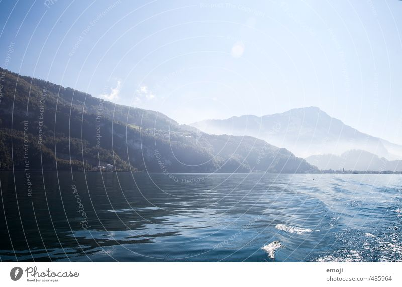 Lake Lucerne Environment Nature Landscape Sky Cloudless sky Beautiful weather Waves Natural Blue Switzerland Colour photo Exterior shot Deserted Copy Space top