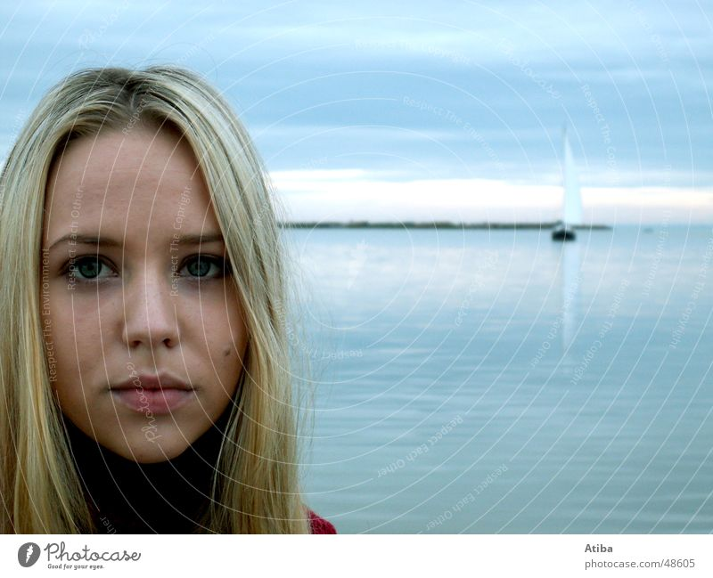 By the lake ... #2 Lake Woman Blonde Sweet Mysterious Sweater Roll-necked sweater Red Autumn Cold Austria Beautiful Water Sky Blue Lake Neusiedl