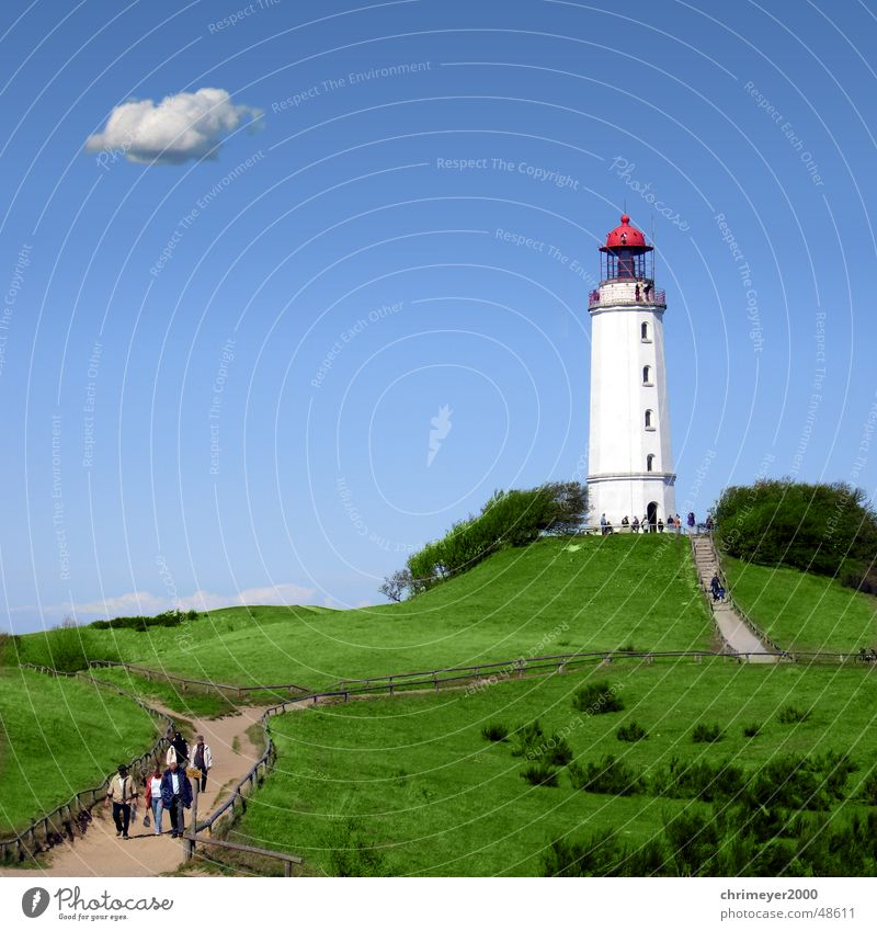 Lighthouse Dornbusch Beacon Night light Clouds Cumulus Hiddensee Rügen Tourist Blue Coast Navigation Vacation & Travel Exterior shot Island Water Sky