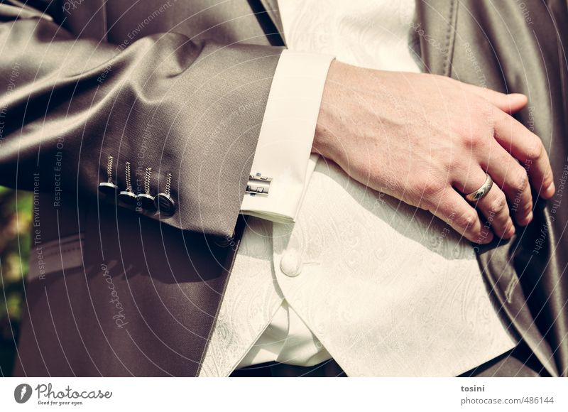 elegance Masculine 1 Human being Fashion Emotions Wedding Circle Matrimony Wedding band Husband Suit Festive Buttons Cuff Gray Hand Fingers Upper body Elegant