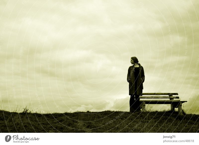 waiting. Meadow Autumn Woman Clouds Bench Wait