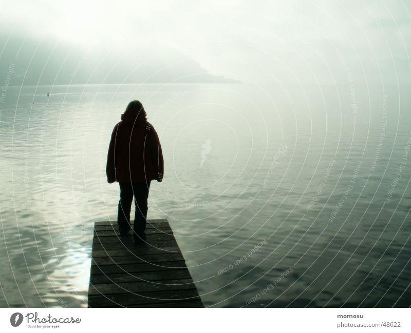 Human being Water Lake Landscape Coast Fog Footbridge Ambiguous