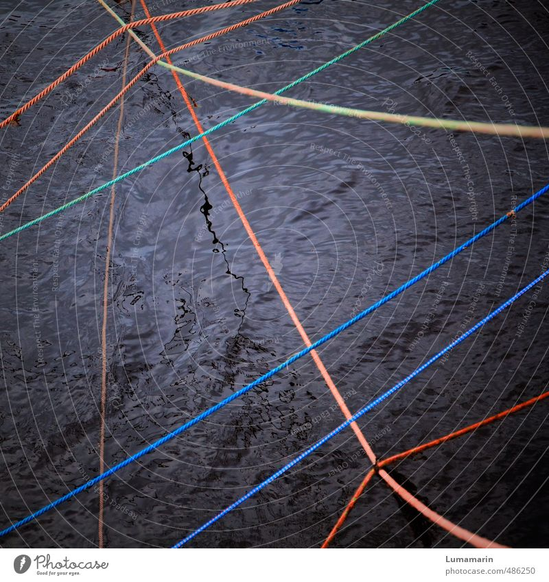field of tension Transport Rope Water Dark Fluid Glittering Multicoloured Black Relationship Chaos Colour Mysterious Competition Power Creativity Attachment
