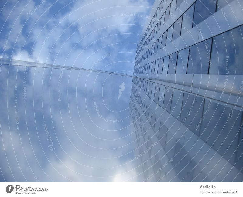 Sky Blue Clouds Building Work and employment Glass Facade High-rise Mirror Construction Duesseldorf
