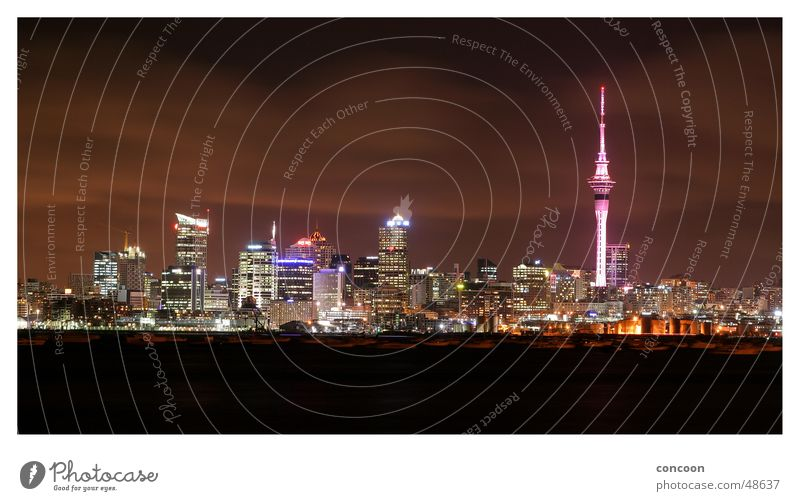 Auckland Skyline New Zealand Sky Tower High-rise Night Panorama (View) city of sails high rise buildings Large Panorama (Format)