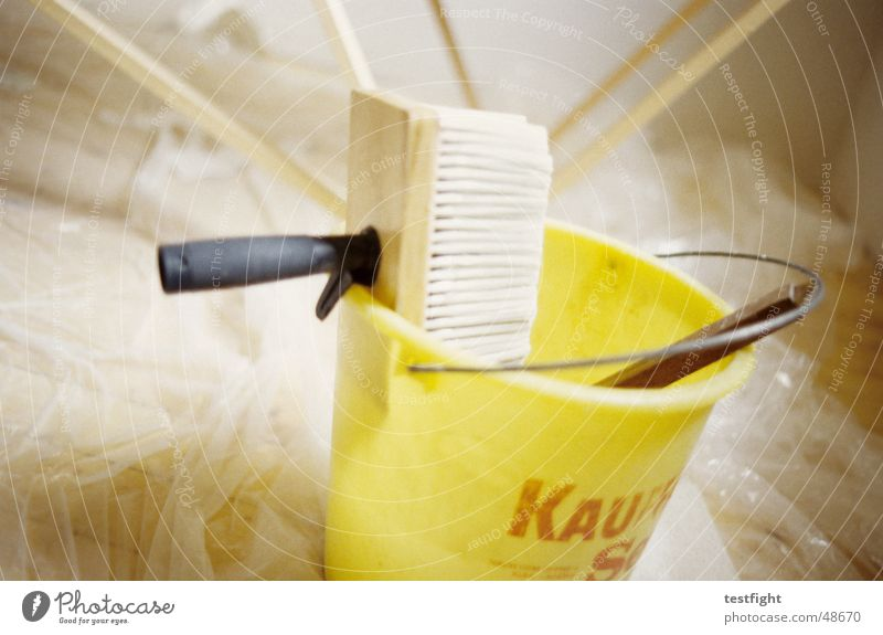Yellow Room Wallpaper Redecorate Paintbrush Bucket Adhesive To wallpaper Glue