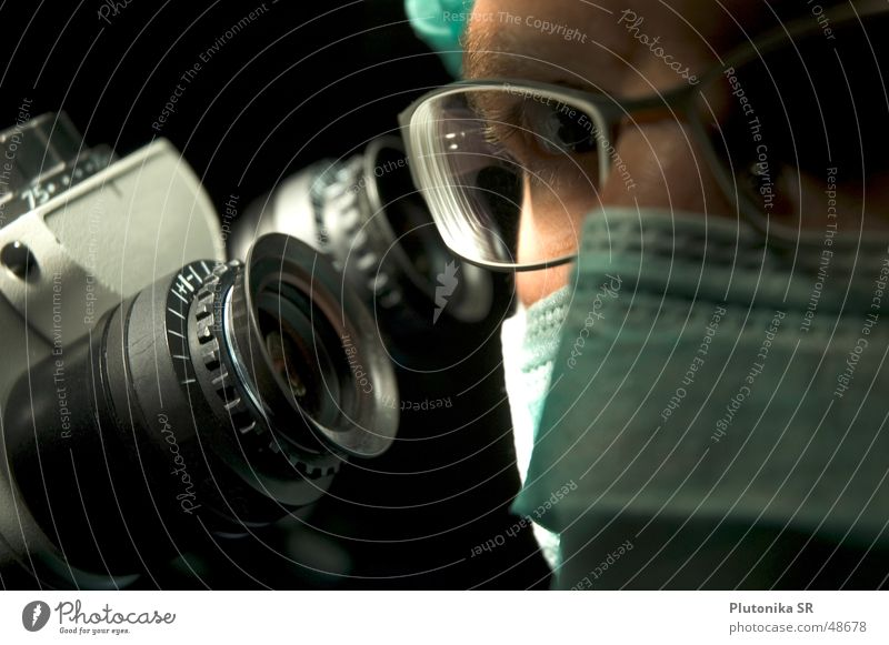 Macro from Dr. on microphone Eyeglasses Microscope Dark Operation Mask zeiss Lens Nose