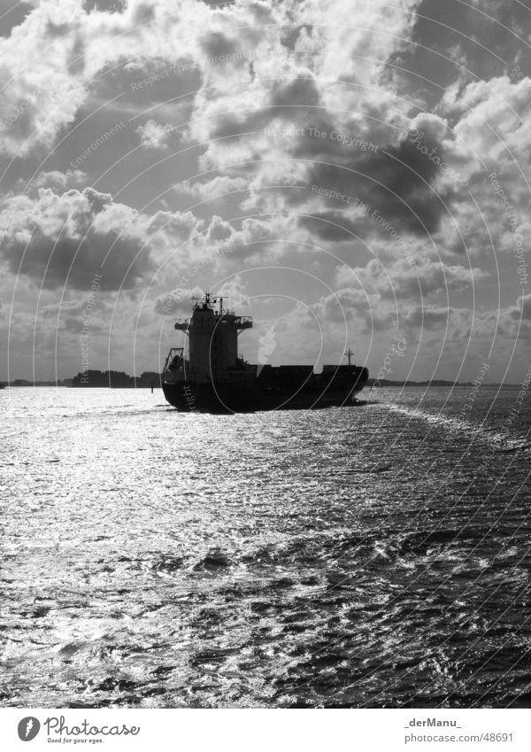 sunbathe Black White Cargo-ship Environmental pollution Converse Clouds Ocean Waves Dark Blankenese Gasoline Large Watercraft Hard Load Elapse Driving Bow Stern