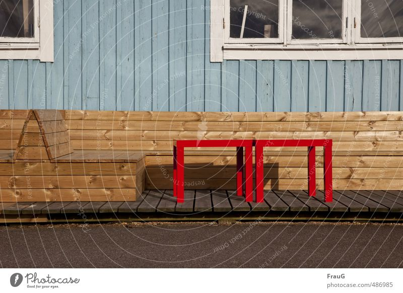 Building material wood House (Residential Structure) Wall (barrier) Wall (building) Window Facade Platform Bench Table Wood Blue Brown Red White