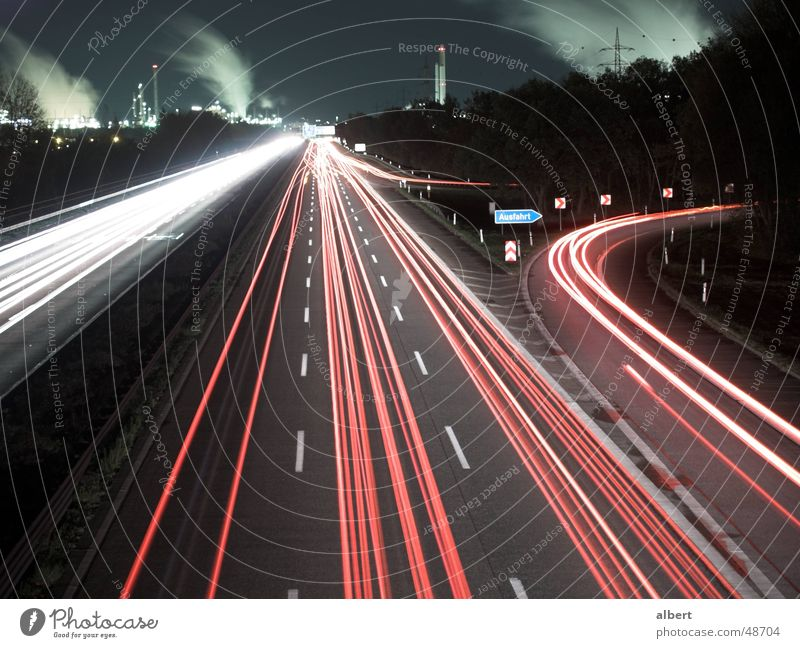A555 at night Far-off places Freedom Cologne Bonn Germany Europe Town Outskirts Industrial plant Transport Traffic infrastructure Road traffic Motoring Street