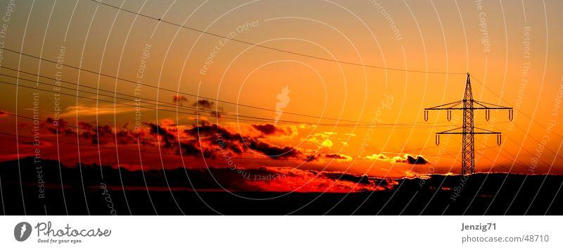 Sky Sun Clouds Electricity Cable Electricity pylon Dusk High-power current