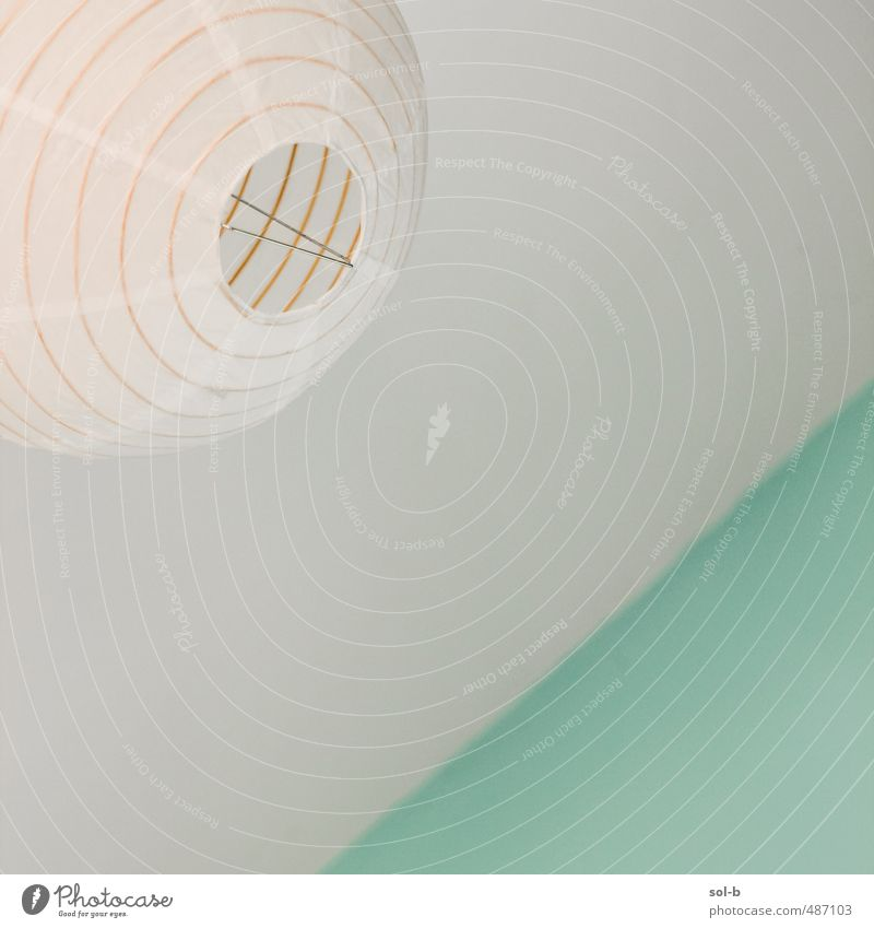 simple Lifestyle Living or residing Interior design Lamp Room Lampshade Ceiling Wall (building) Simple Green Turquoise Diagonal Tilt Fresh Airy Relaxation
