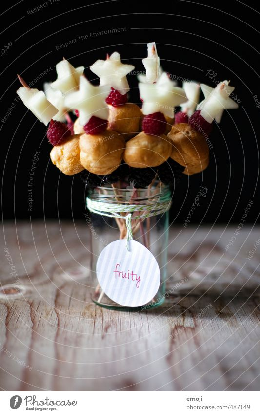 fruity Fruit Dessert Candy Nutrition Picnic Vegetarian diet Delicious Sweet Fruity Impaled Berries Star (Symbol) Colour photo Interior shot Deserted
