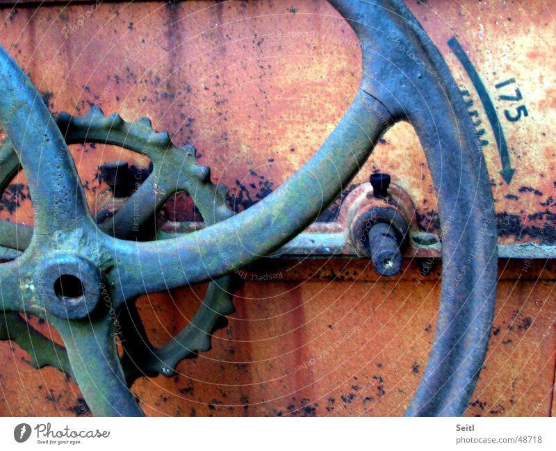 flywheel Machinery Crank Antique Iron Red Old Museum Rust Blue Gearwheel Derelict