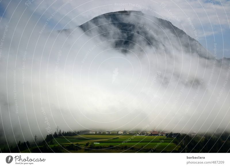 Watermark | Condensation Environment Nature Landscape Sky Clouds Climate Fog Field Forest Alps Mountain Peak Village Bright Many Movement Change Far-off places