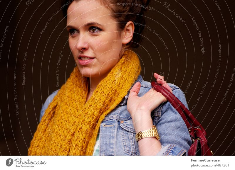 Autumnal Woman (VIII). Lifestyle Elegant Style Beautiful Feminine Young woman Youth (Young adults) Adults 1 Human being 18 - 30 years Scarf Knitted Yellow