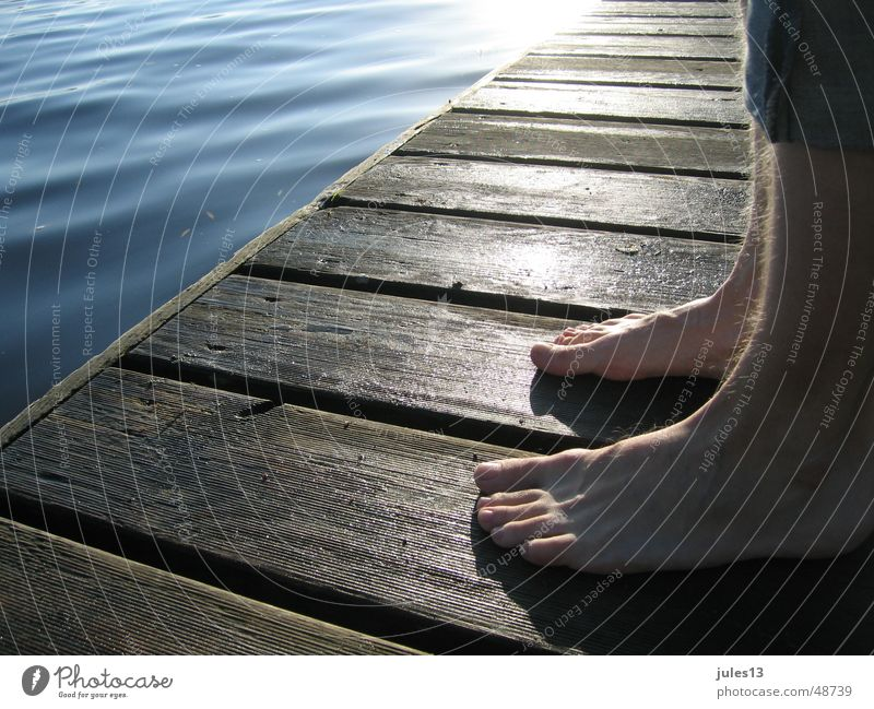 In the morning Ocean Lake Man Individual Footbridge Fresh Wood Moody Stand Calm Loneliness Exterior shot Light Vantage point Detail Perspective Feet atmospehre