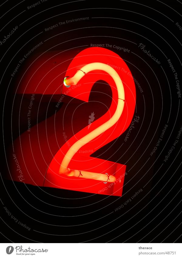 Red Lamp 2 Characters Digits and numbers Advertising Typography Neon light Frame