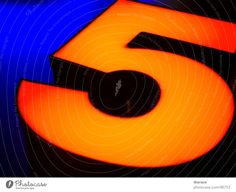 Profile 5 Black Light Advertising Typography Neon light Digits and numbers Frame Overlapping edge band Mirror five Orange Blue Lamp Characters public relation